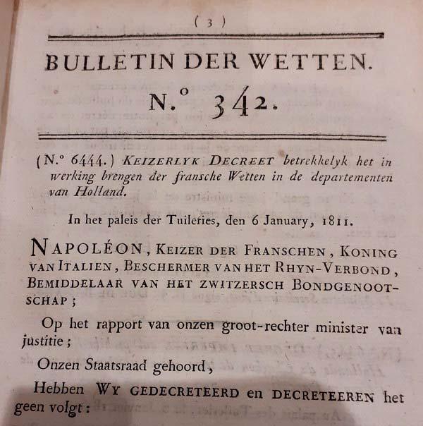 Napoleon - Bulletin der Wetten 342-347 (1811)