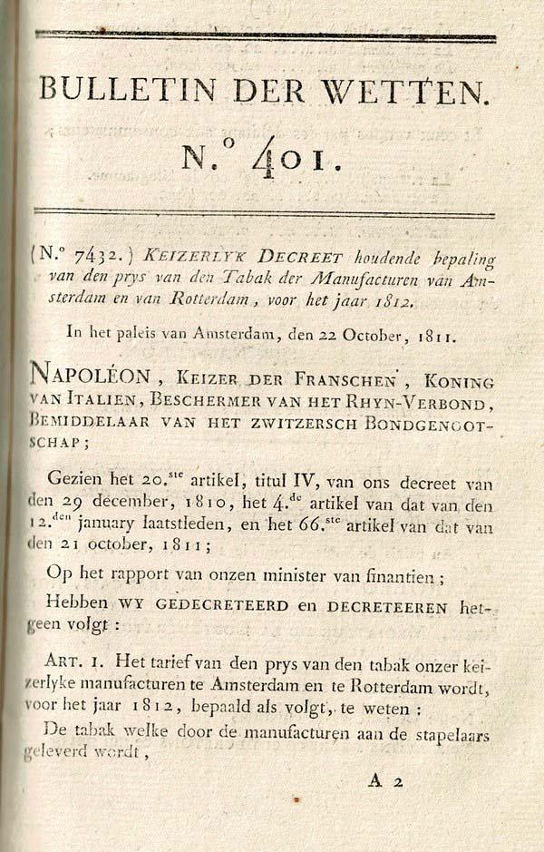 Napoleon - Bulletin der Wetten 1811
