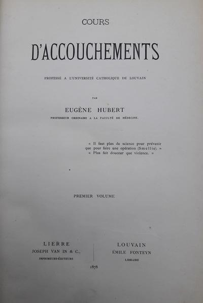 Hubert, Eugène - Cours d'Accouchements